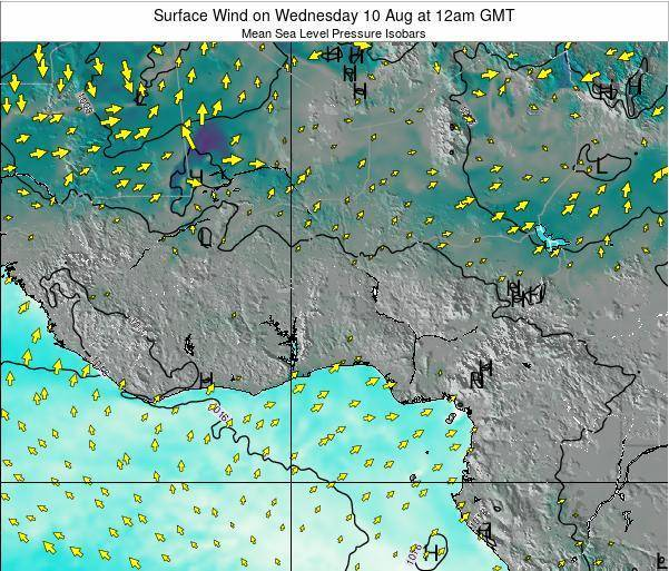 Ghana Surface Wind on Wednesday 30 Apr at 12pm GMT