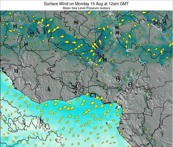 Benin Surface Wind on Saturday 01 Jun at 12pm GMT map