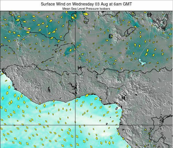 Ghana Surface Wind on Wednesday 23 Jul at 12pm GMT