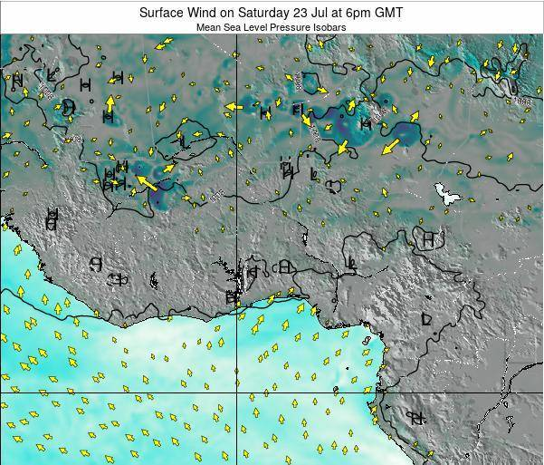 Ghana Surface Wind on Thursday 17 Apr at 6am GMT