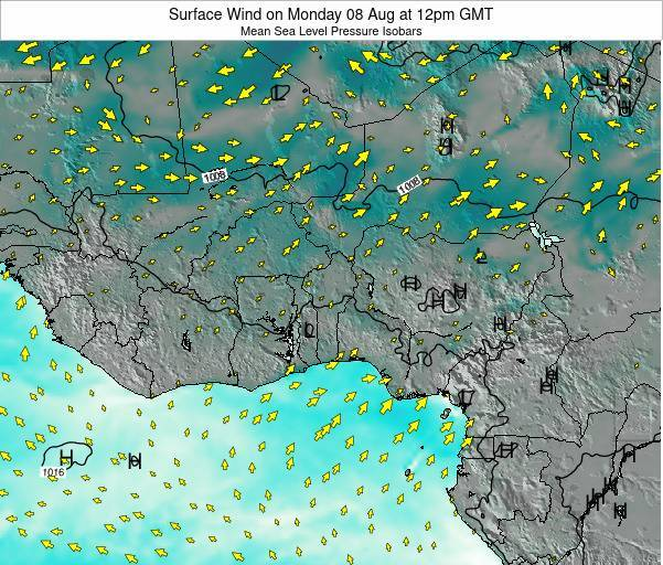 Ghana Surface Wind on Saturday 25 Feb at 12am GMT