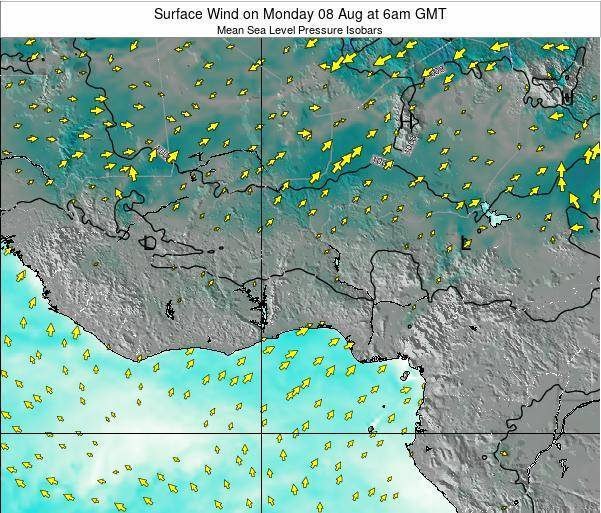 Ghana Surface Wind on Sunday 21 Sep at 6pm GMT