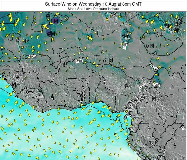 Ghana Surface Wind on Saturday 26 Jul at 6pm GMT