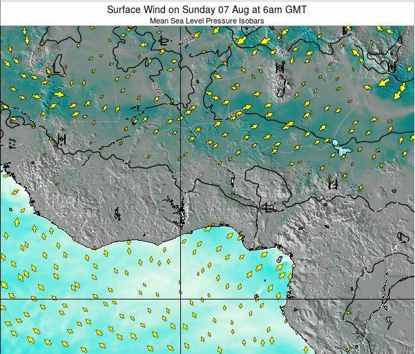 Ghana Surface Wind on Tuesday 09 Feb at 6am GMT