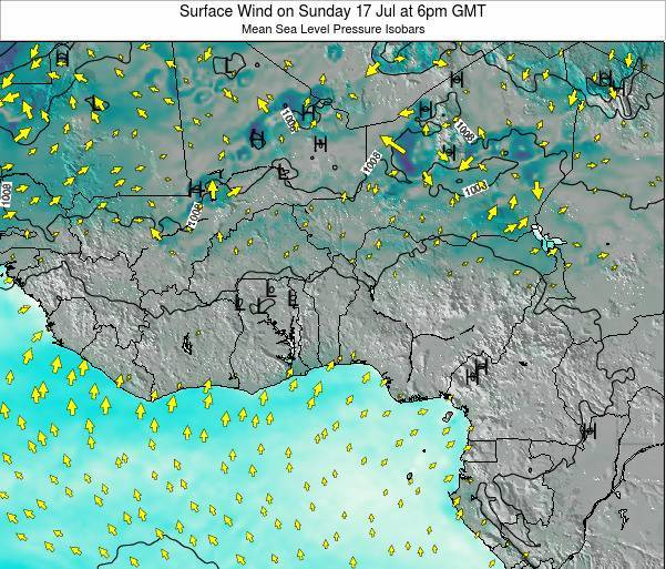 Benin Surface Wind on Sunday 20 Apr at 12pm GMT map