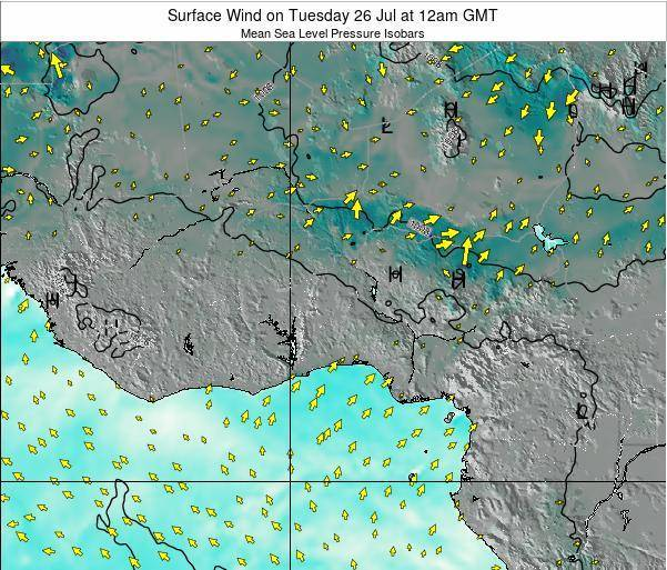 Benin Surface Wind on Thursday 13 Mar at 12pm GMT map