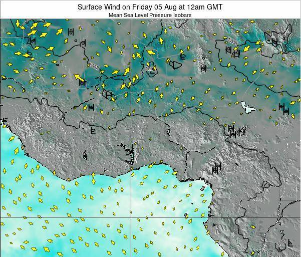 Benin Surface Wind on Friday 24 May at 6pm GMT map