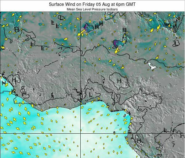 Ghana Surface Wind on Thursday 24 Jul at 12am GMT