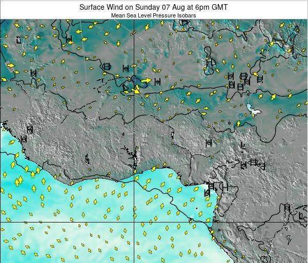 Ghana Surface Wind on Thursday 14 Dec at 6pm GMT map