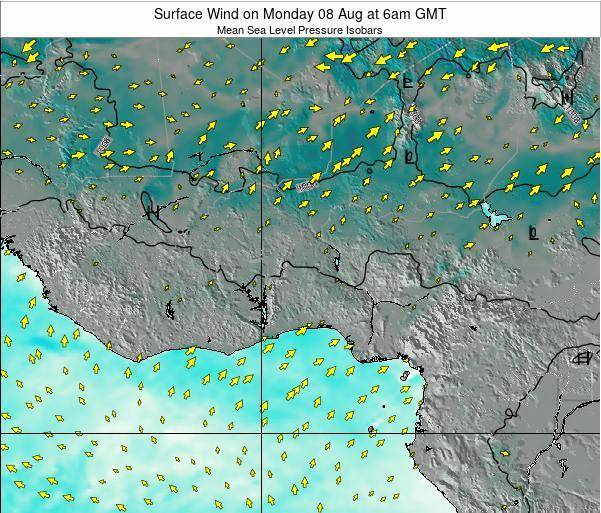 Ghana Surface Wind on Saturday 26 Apr at 12pm GMT