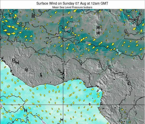 Ghana Surface Wind on Sunday 22 Apr at 12am GMT map