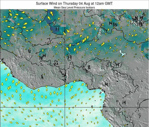 Ghana Surface Wind on Sunday 09 Mar at 6pm GMT