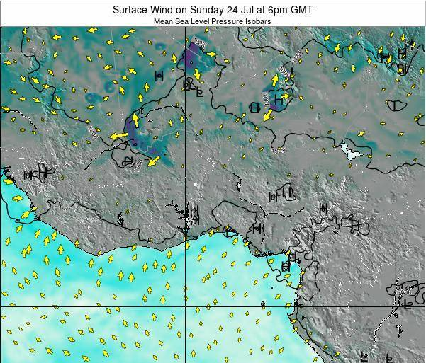 Ghana Surface Wind on Saturday 02 Aug at 6am GMT