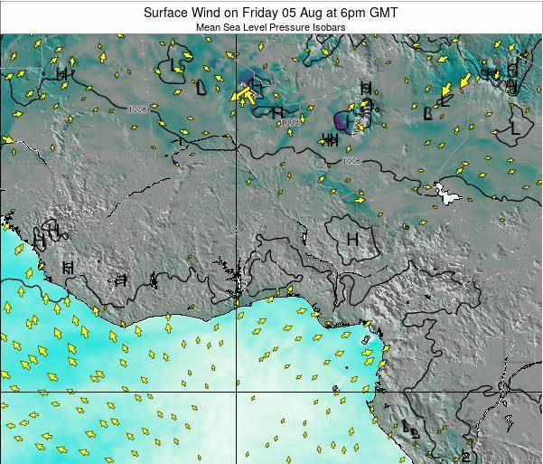 Benin Surface Wind on Saturday 02 Aug at 12pm GMT map