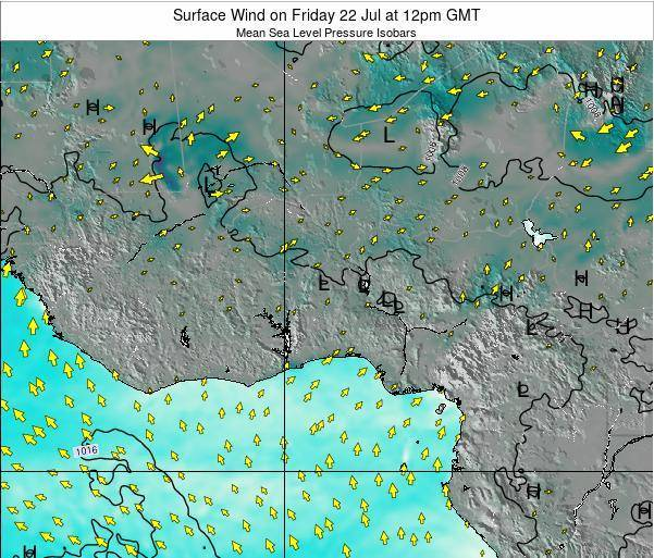 Benin Surface Wind on Friday 25 Jul at 6pm GMT map