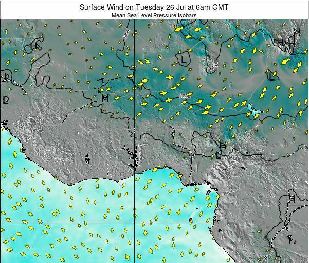 Benin Surface Wind on Saturday 26 Apr at 12am GMT map