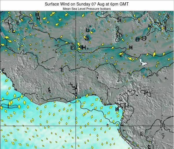 Benin Surface Wind on Wednesday 12 Mar at 6am GMT map