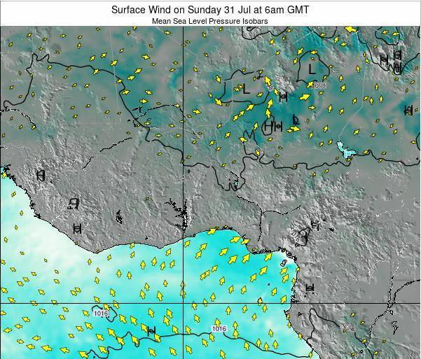 Togo Surface Wind on Friday 25 Jul at 12am GMT