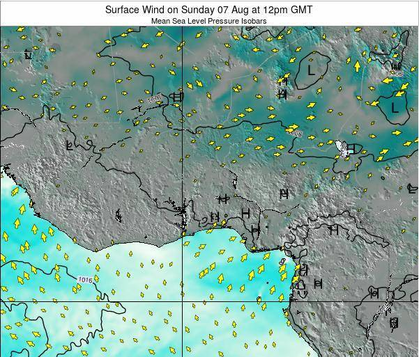 Ghana Surface Wind on Thursday 20 Jun at 6am GMT