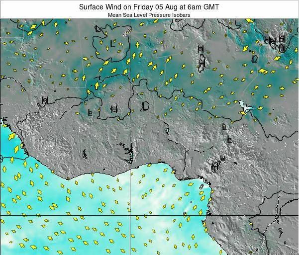 Togo Surface Wind on Friday 19 Sep at 6am GMT