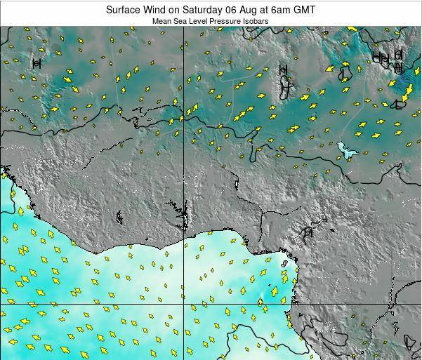 CotedIvoire Surface Wind on Saturday 18 May at 12pm GMT