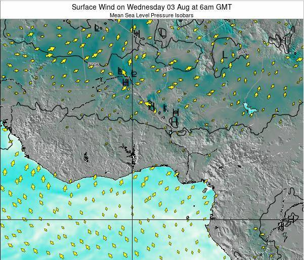 Benin Surface Wind on Saturday 14 Dec at 6am GMT map