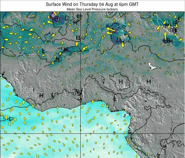 Benin Surface Wind on Saturday 19 Apr at 12am GMT map