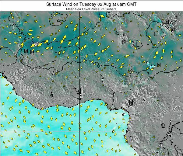 Benin Surface Wind on Friday 01 Aug at 6pm GMT map