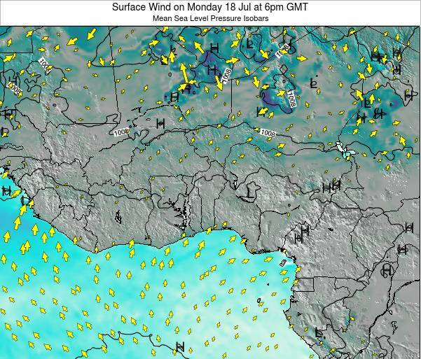 Benin Surface Wind on Saturday 25 May at 6am GMT map
