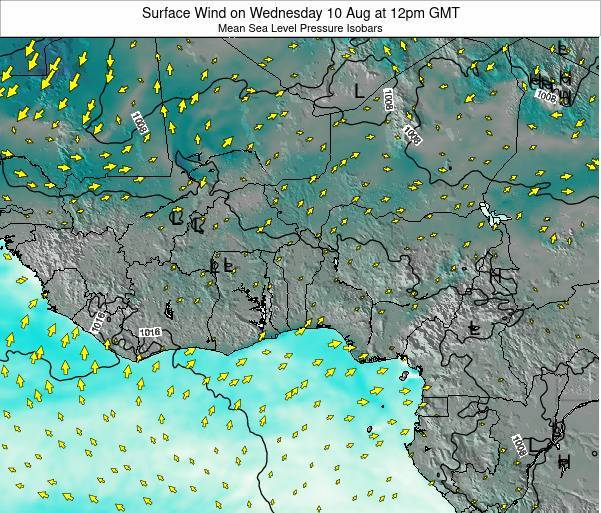 Benin Surface Wind on Saturday 26 Jul at 12pm GMT map
