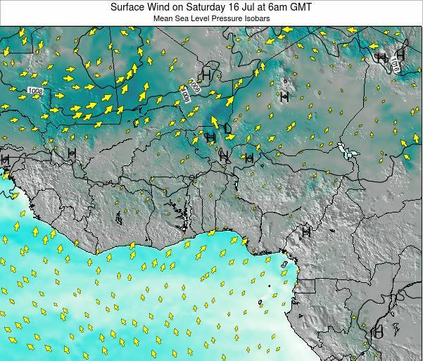 Benin Surface Wind on Tuesday 21 May at 12am GMT map