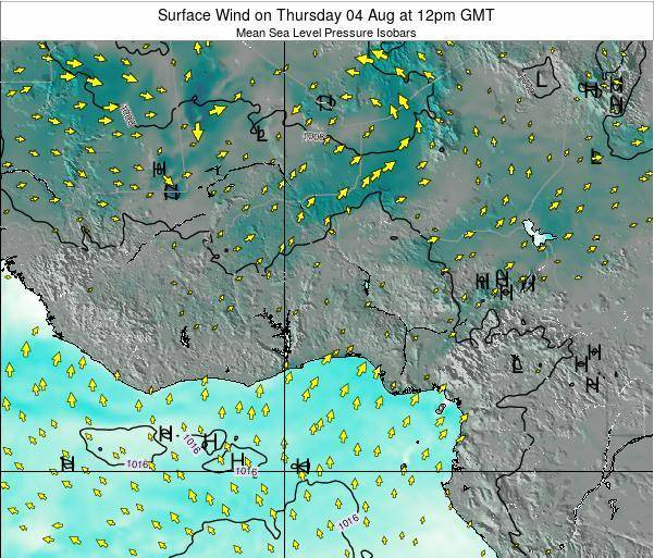 Ghana Surface Wind on Thursday 30 Apr at 6am GMT