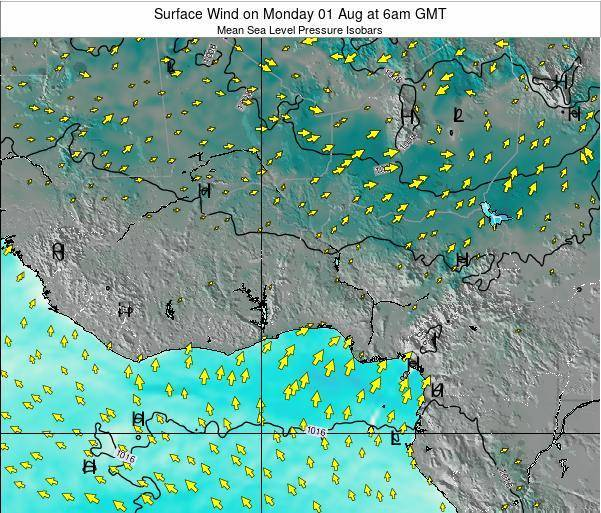 Benin Surface Wind on Monday 28 Jul at 12am GMT map