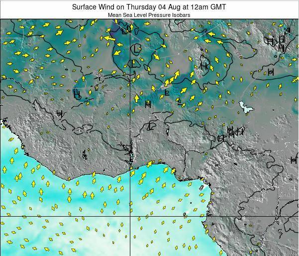 Ghana Surface Wind on Thursday 24 Apr at 12am GMT
