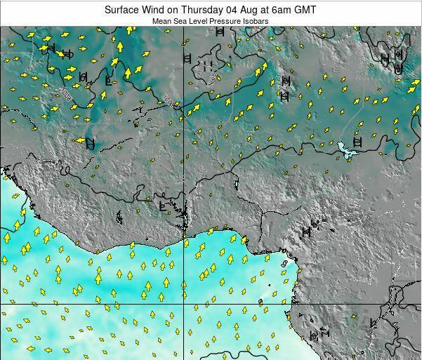 Ghana Surface Wind on Sunday 15 Dec at 12pm GMT