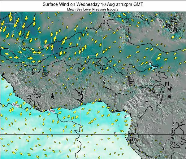 Benin Surface Wind on Sunday 26 May at 12am GMT map