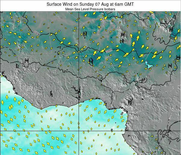 Ghana Surface Wind on Thursday 13 Mar at 6am GMT