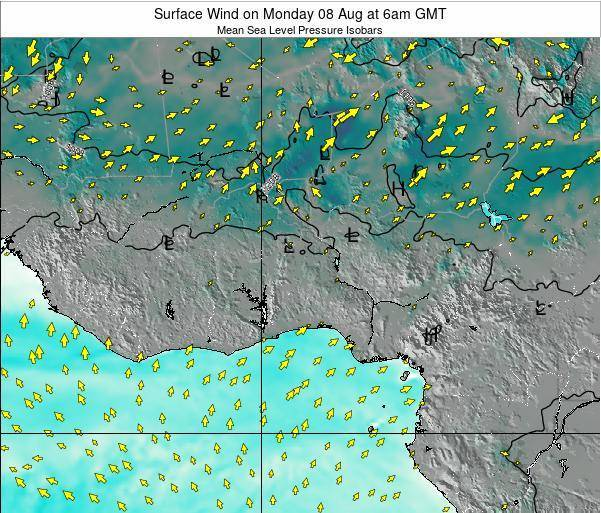 Benin Surface Wind on Thursday 12 Dec at 12pm GMT map