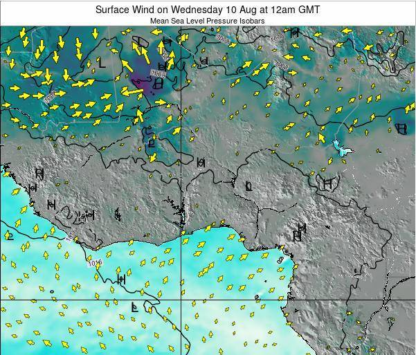 Benin Surface Wind on Tuesday 05 Aug at 6am GMT map