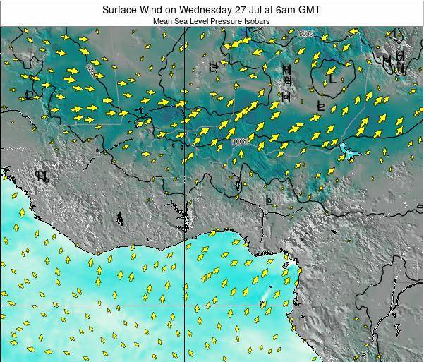 Ghana Surface Wind on Tuesday 05 Aug at 12am GMT