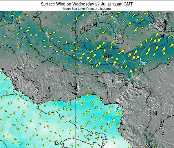Benin Surface Wind on Sunday 27 Apr at 12am GMT map