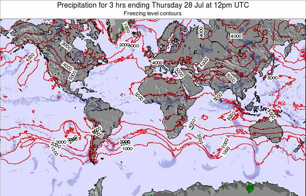 Global-Atlantic Precipitation for 3 hrs ending Monday 27 May at 6pm UTC