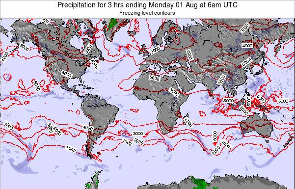 Global-Atlantic Precipitation for 3 hrs ending Sunday 26 May at 6pm UTC