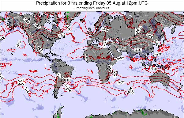 Global-Atlantic Precipitation for 3 hrs ending Tuesday 19 Jun at 6am UTC map