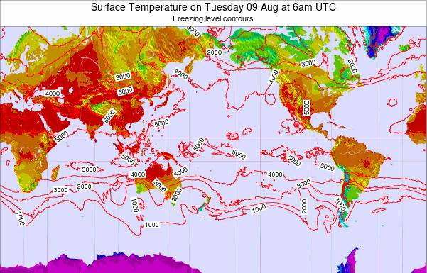 Global-Pacific Surface Temperature on Tuesday 28 May at 6am UTC map