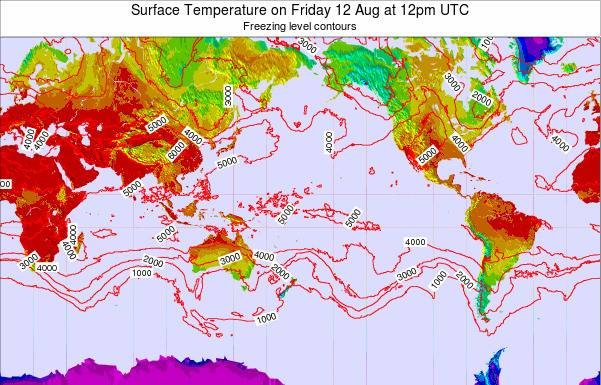 Global-Pacific Surface Temperature on Thursday 30 May at 6am UTC map