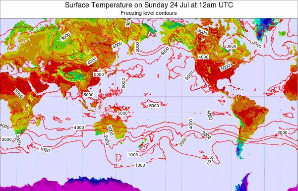 Global-Pacific Surface Temperature on Thursday 23 May at 12pm UTC map