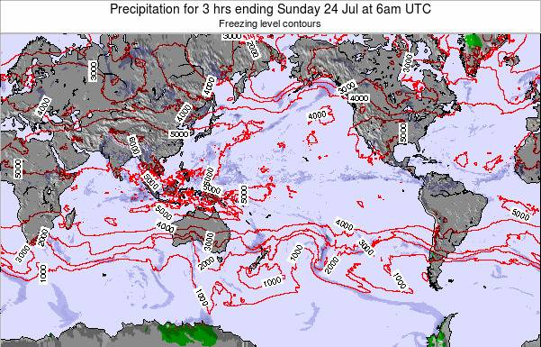 Global-Pacific Precipitation for 3 hrs ending Monday 20 Feb at 12pm UTC