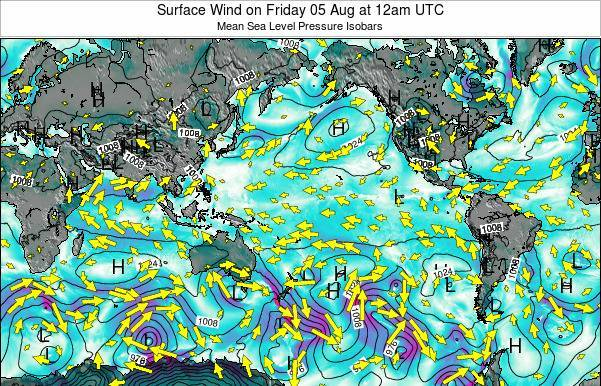 Global-Pacific Surface Wind on Monday 20 May at 6pm UTC
