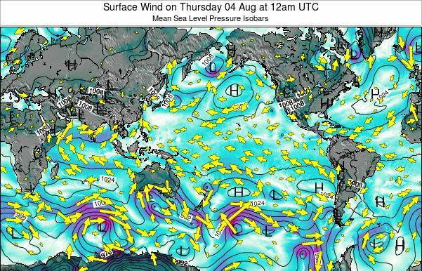 Global-Pacific Surface Wind on Saturday 22 Jun at 12pm UTC